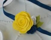 Yellow and Navy Blue Felt Flower Headband- University of Michigan college football- Baby Headband