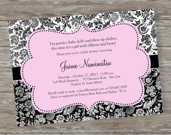 "Baby Shower invitations - Digital file  ""Flower Toile Baby"" design"