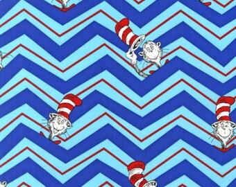 Robert Kaufman Dr. Seuss Celebrate The Cat ZigZag Fabric 1 yard