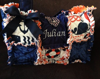 Custom Made Modern Chic Rag Quilted Diaper Bag Sailor Nautical Navy and orange Whale for boy or girl