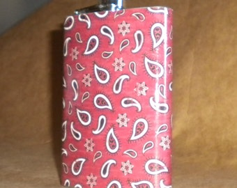 Flask Sale Country Western Red Bandana Print 8 ounce Stainless Steel Flask KR2D 7312