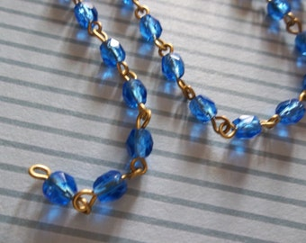 Sapphire Blue 4mm Fire Polished Glass Beads on Brass Beaded Chain - Qty 18 Inch strand