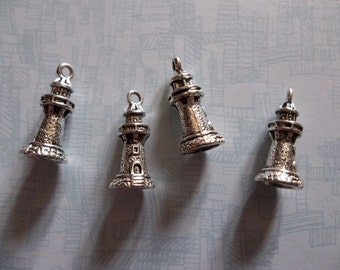 Silver Brick Lighthouse Beach Pendants or Charms - Qty 2