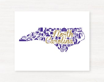 Cullowhee, North Carolina State Landmark Giclée Map Art Print 8x10 - Graduation Gift Idea - Dorm Decor