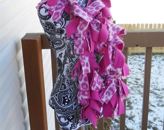 Homemade Pink Leopard and Pink Fleece Boa Scarf