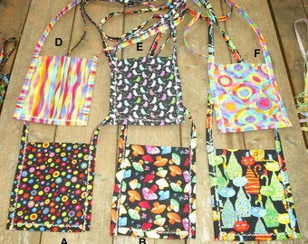 Pocket Purse Small Bag Long Strap Phone Wallet Clutch Tote Mini Fabric Cats Mushrooms Birds Circles Abstract - Ready to Ship #6
