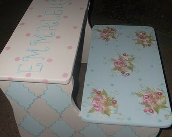Custom Wooden Step Stool PINK Blue Roses Savannah  STEPSTOOL Baby Bedding Match  Bench  Kids Furniture and Decor