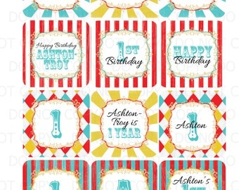 Printable DIY Personalized Circus Theme Cupcake Toppers