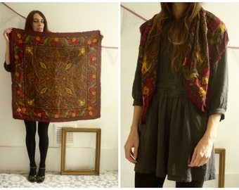 Vintage Massive Paisley & Floral Printed Woven Scarf