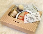 Shaving Soap in Tin Bowl and Brush, box Gift Set - Bentonite clay, Aloe & Honey - Cold Process Soap based on Greek Olive oil