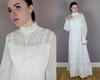 Vintage 1970s Cotton Victorian Wedding Gown