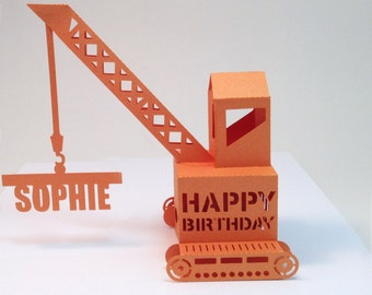 personalized crane popup  card in orange  and name of your choice