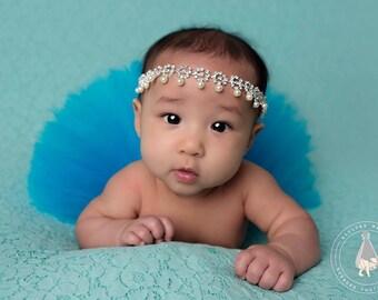 Tutu with rhinestone headband, newborn tutu, Turquoise tutu, newborn photography prop, baby tutu, birthday tutu, many colors available