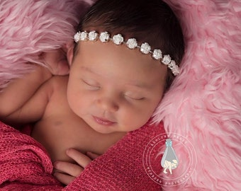 Vintage style rose halo headband, newborn headband, baby headband, newborn photography prop
