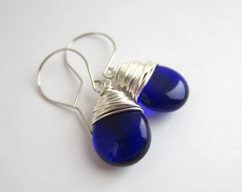 Sapphire Blue Earrings Wire Wrapped Earrings Wire Wrapped Jewelry Handmade Tear Drop Earrings Birthstone Jewelry