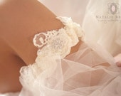 Ivory Beaded Lace Garter/ Crystal Brooch Garter SET