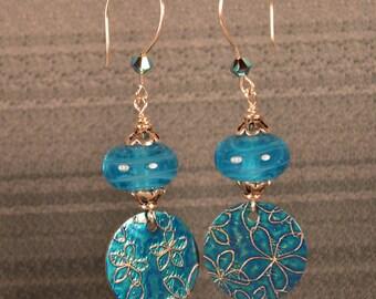 Handmade Lampwork Glass Bead earrings-OOAK-SRA-Blue beads-Brass textured discs
