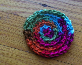 Miniature Handmade Hand Crafted Sweet Round  Doll House Crocheted Rug. Southwestern multi colored