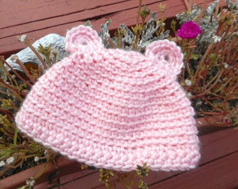Pearly Pink crochet sweet Teddy Bear Hat with ears ~ Newborn Infant soft pink. Handmade Crochet Baby Girl cap. Maybaby© Gear
