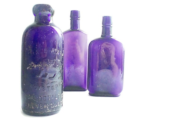 Antique purple glass bottle collection unique old bottles chic for Unique glass bottles