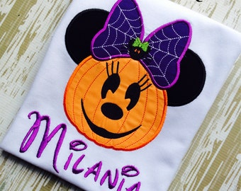 Spider Pumpkin Minnie Mouse Inspired Shirt, Halloween Mouse Head Pumpkin with Spider and Web Bow,TShirt Embroidered and Appliqued Inspired ,