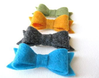Mini Felt Hair Bow Clips - Set of 4 - Turquoise / Charcoal Heather / Mustard Yellow / Olive Green