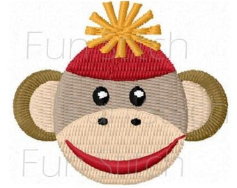 sock monkey machine embroidery design