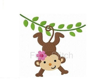 Girl monkey machine embroidery design
