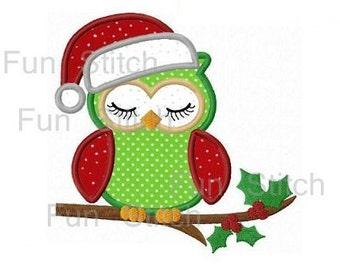 Christmas owl applique machine embroidery design