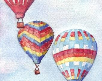 Hot Air Balloons Watercolor Painting - Three Rainbow Hot Air Balloons Sky Original Watercolor Painting, 6x8