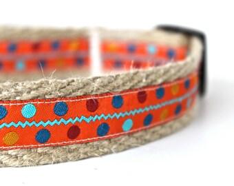 Orange Polka Dot Dog Collar, Colorful Dog Collar, Celebration Dog Collar, Sale Dog Collar