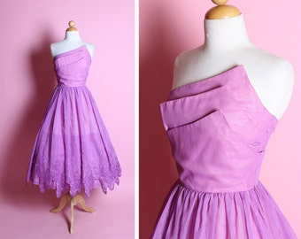 FABULOUS Early 1960's Designer Orchid Purple Chiffon Strapless Asymmetrical Triple Winged Bust Party Dress by Joy Stevens of California - S