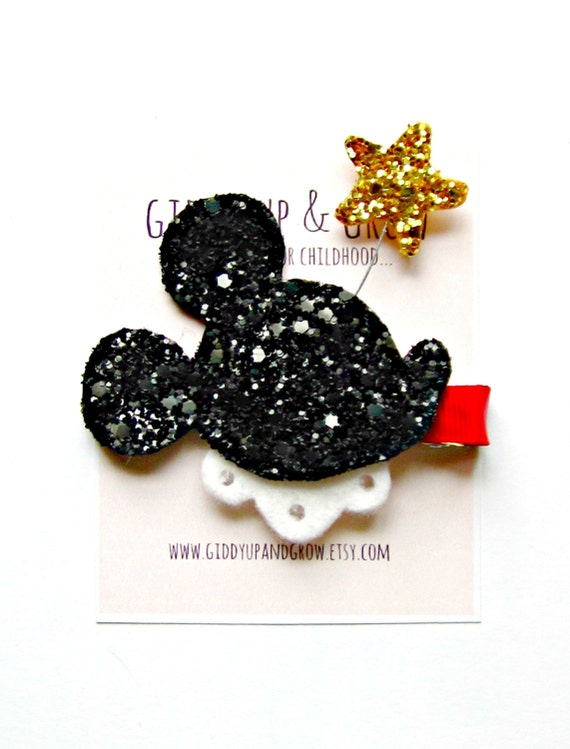 Mickey Mouse Hair Clip - Glitter Mickey Mouse with Star, Giddy Up and Grow
