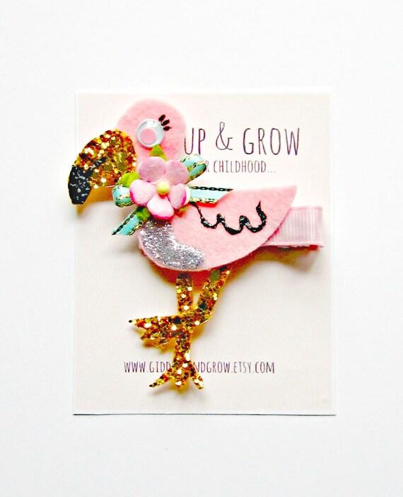 Nautical Hair Clip - Flamingo Hair Clip, Summer, Giddy Up and Grow