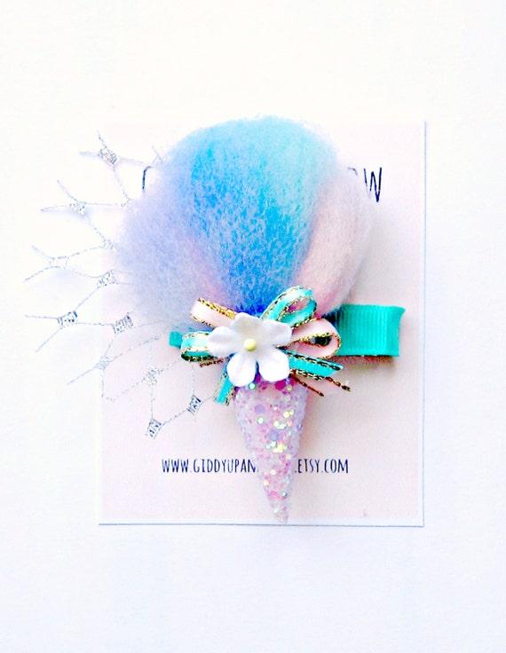 Felt Hair Clip - Cotton Candy Hair Clip, Glitter Hair Clip, Giddy Up and Grow