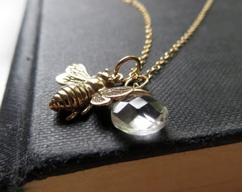 larger size bee necklace, Honey bee necklace, golden bronze bee charm necklace with gemstone