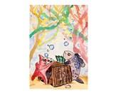 "Aceo card ""Fish Feed"" original watercolour art card, watercolor"