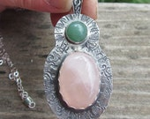 Native American Inspired Rose Quartz and Green Aventurine Sterling Silver Pendant