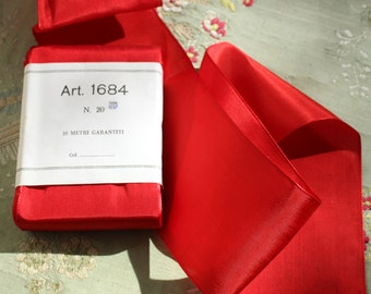 """1 yard new old stock  Italy ribbon rayon fine red woven edge 2.75""""  wide rich shade"""