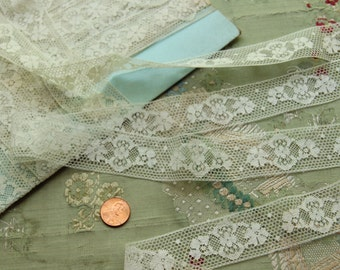 Antique French lace 1 yard cotton  flowers 1920  flapper lingerie ivory cream  france trim