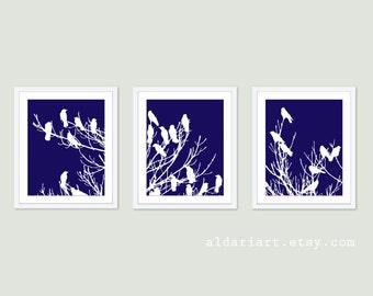 Birds on Tree Art Print Set - Wall Art Triptych Trio - Navy Blue and White - Modern Home Decor - Woodland Spring Birds