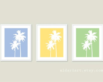 Palm Trees Art Prints Trio - Blue Yellow Green - Tropical Beach House Wall Art - Summer Decor