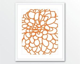 Dahlia Art Print - Dahlia Wall Art - Modern Flower Wall Art - Dahlia Flower No.1 Print - Tangerine Orange Art - Modern Decor - Aldari Art