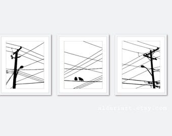 Urban Power Lines and Birds Digital Print Set - Black and White - Modern Wall Art -  Home Decor