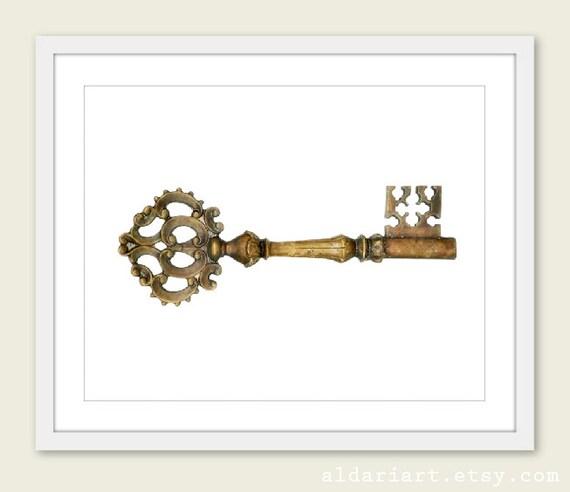 Vintage Skeleton Key Art Print - Steampunk Art -  Brown Gold Bronze - Vintage Home Decor