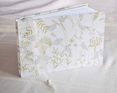 Flora and Fauna guest book birds silver white green leaves meadow love wedding album