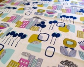 TCS1446E Small Square Vintage Fabric Cityscape Table Cloth, Cotton, Bright, Flowers