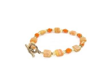 Vintage Orange and Lime color Beaded Bracelet