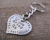 Love you Grand Ma Brag Keychain made of a Stainless Steel Heart - Personalize with her grandkids names