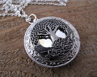 Prettiest Celtic Tree of Life Locket Necklace in Antique Silver Plate with a Silver Plated 24 inch Rolo chain